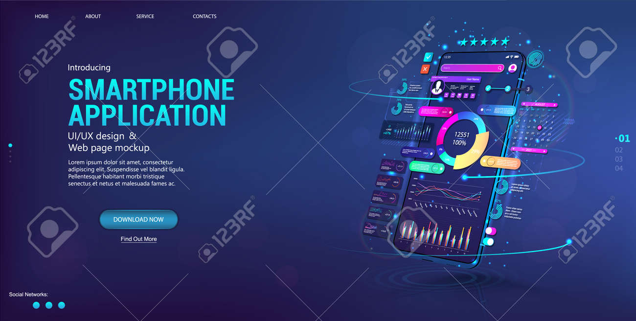 Web banner Business App with smartphone in perspective position. Financial analysis and data statistic. Presentation concept App, UI, UX design, capabilities. Trading and stock market forex. Vector - 169523137