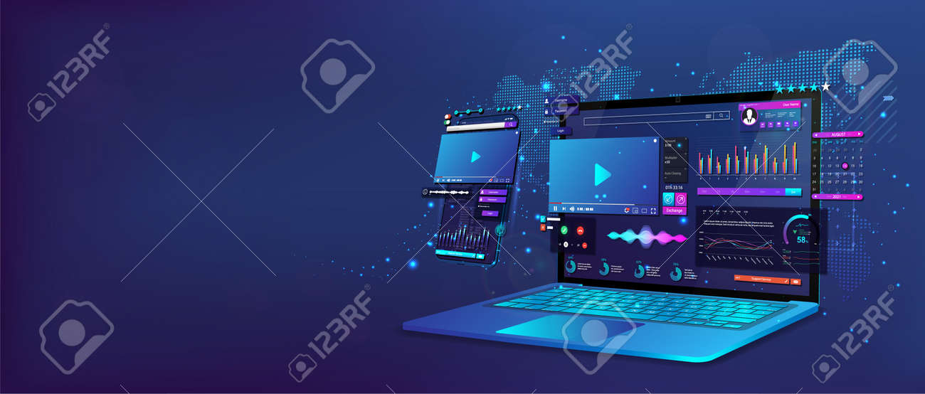 Laptop and smartphone with open dashboard. Online remote work concept. Work at home. Online conference, statistics and analysis, home business management. Business communication. Vector illustration - 169523139
