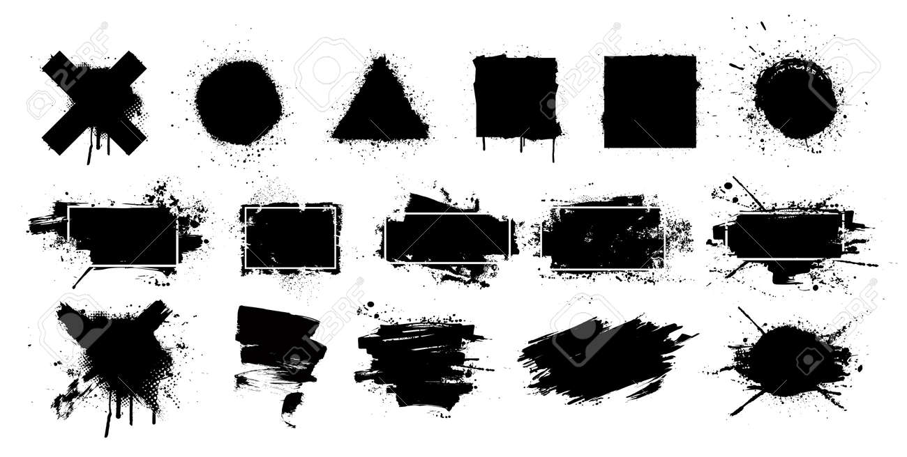 Black grunge splashes stencil with frame. Graffiti spray paint, different shapes. Dirty artistic design elements with frame for text. Grunge box with ink brush strokes and spray splash. Vector set - 169523146