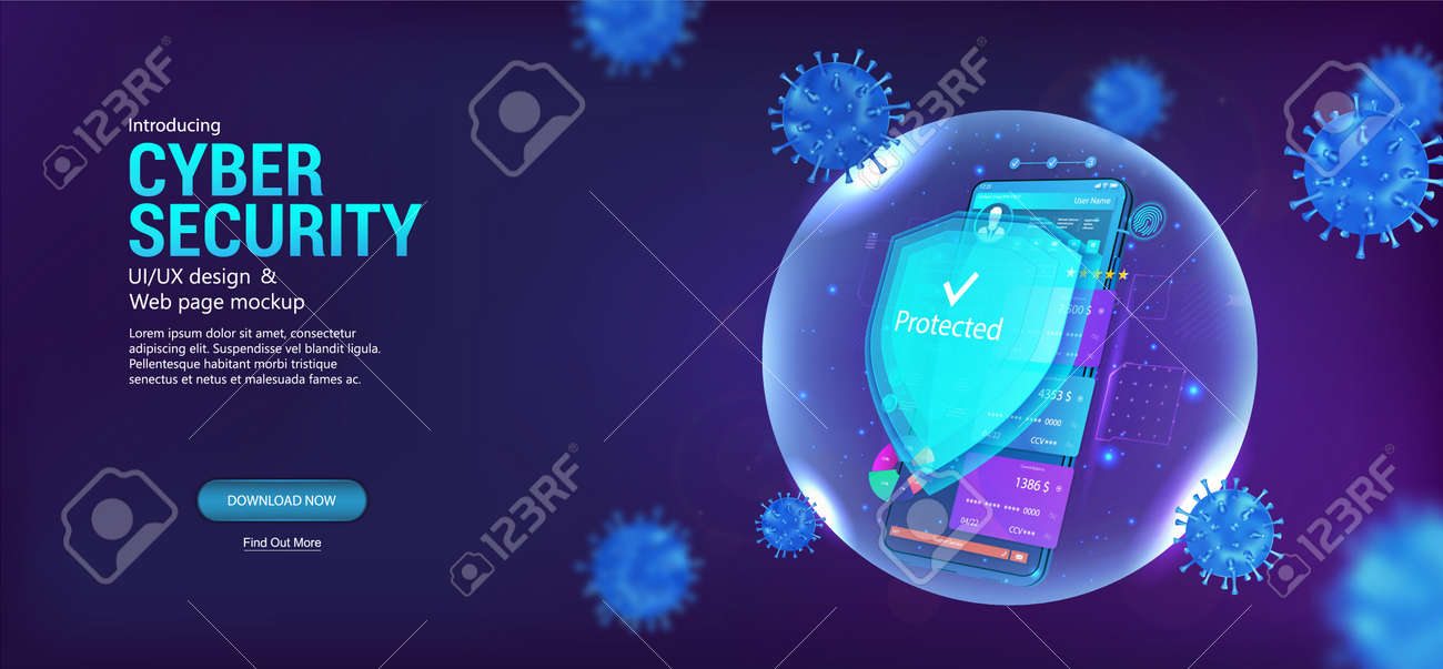 Cyber security smartphone. Protection mobile phone with shield which protect against cyber attacks, Internet viruses and spam. Antivirus app banner with concept cyber security. Vector illustration - 169523148