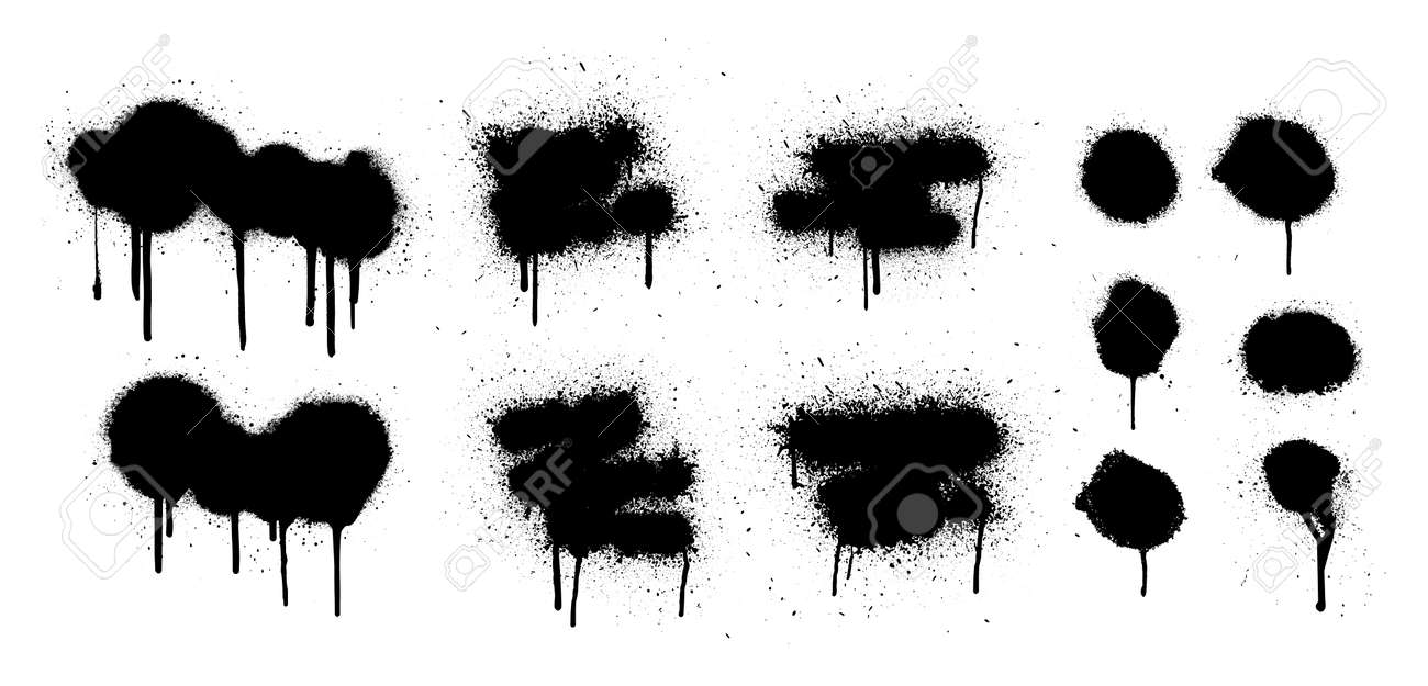 Hand drawn spray graffiti template. Texture ink with splashes and drips of paint on a white background. Grunge graphic stencil elements. Dirty graffiti spray effect. Street art. Vector collection - 169523158