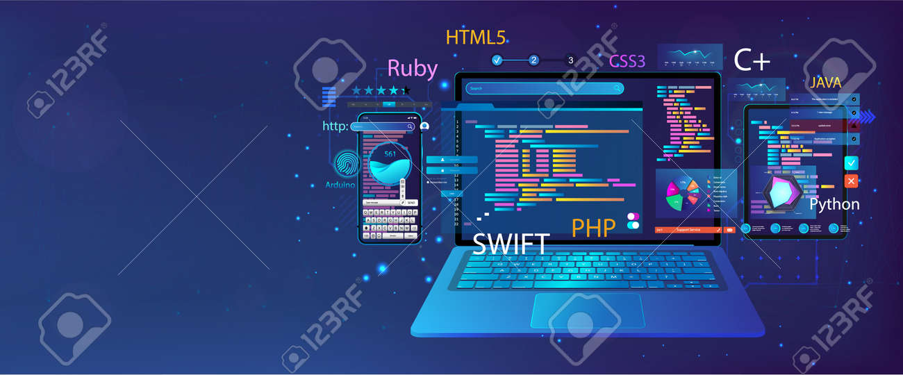 Web banner Development Software and UI interface in different devices. App dashboard with code and UI elements graph and charts, analytics data, testing website or platform and coding process. Vector - 169523160