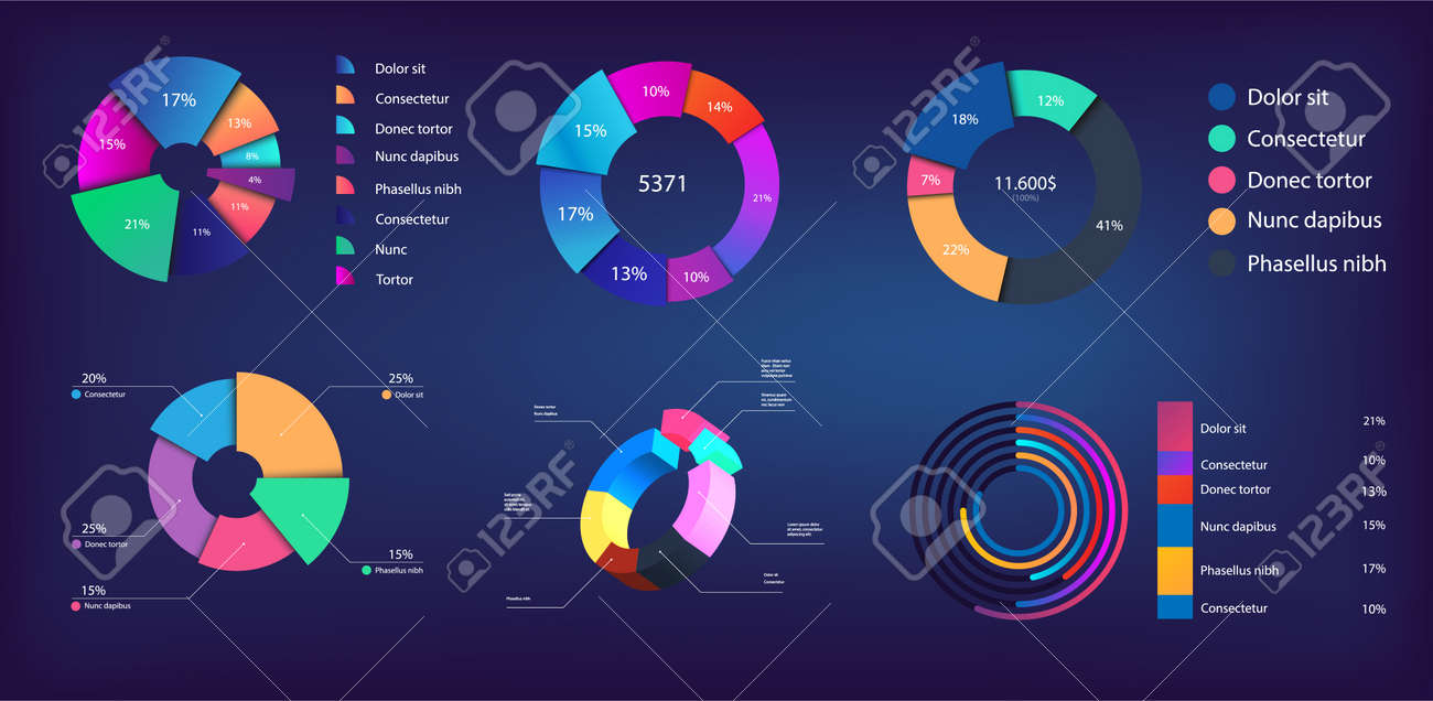 Neon gradient pie chart, infographic collection for reports and presentations, UI, WEB. Mockups circle infochart and Pie charts. 3D, and flat infographics. Modern Pie chart set. Vector illustration - 171287871