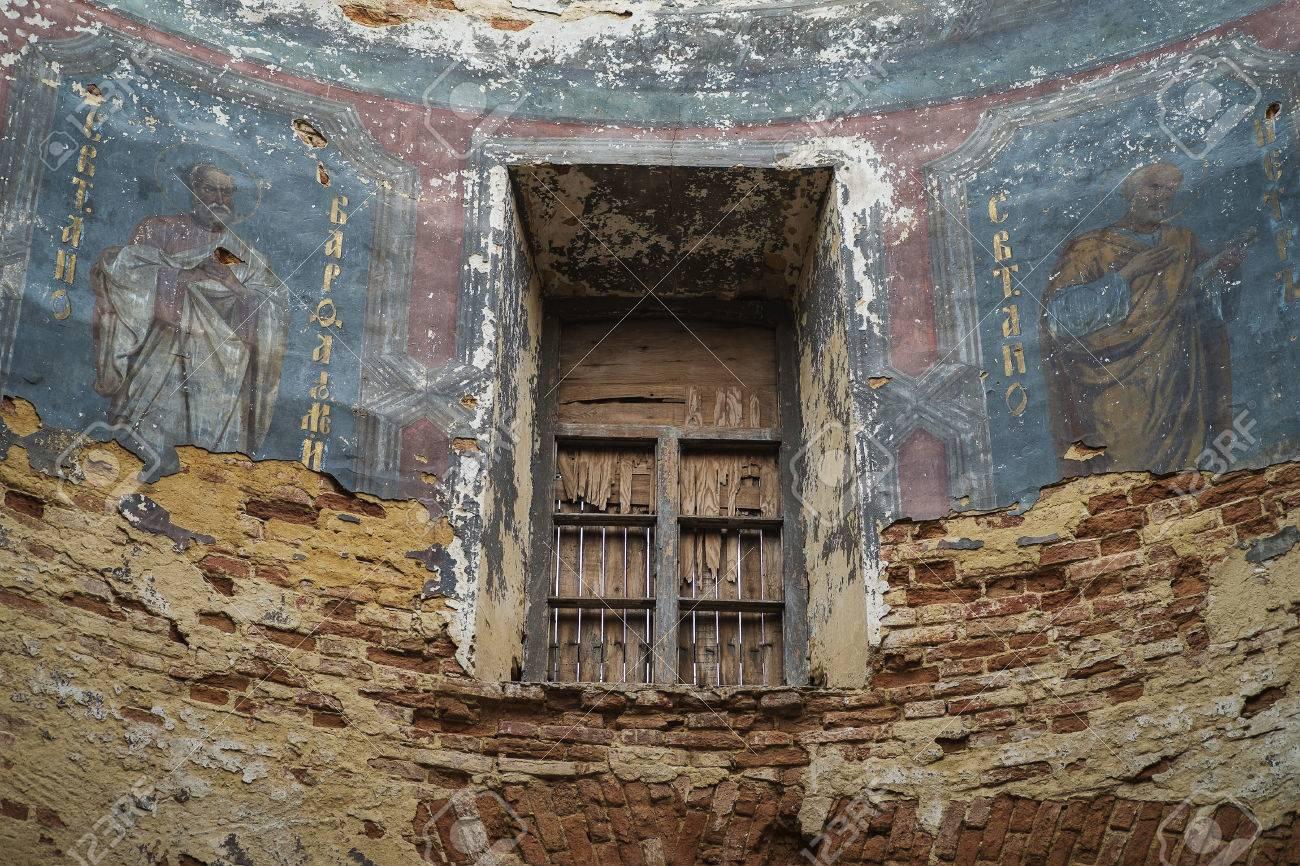 Antichi Affreschi Della Chiesa In Rovina Dopo La Seconda Guerra Mondiale Russia Livny Città Rovnets Villaggio