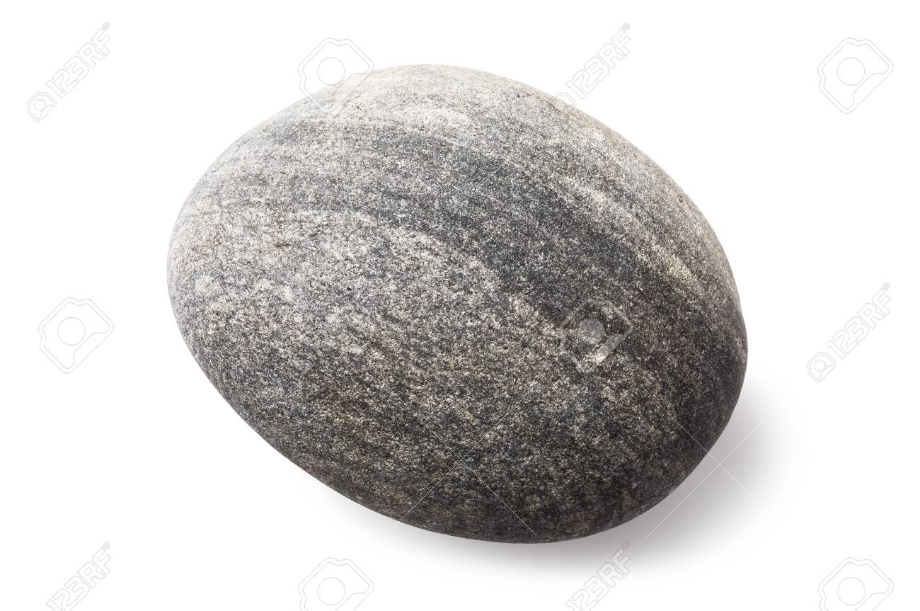 A smooth sea pebble isolated on a white background. Stone of grey color and oval shape. Photo taken by stacking method - 135777806