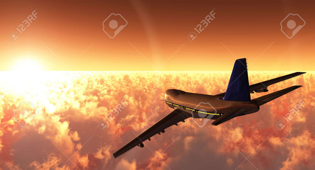 scene of the plane in flight, executed in 3 D Stock Photo - 3774535