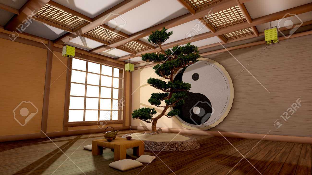 Japanese Interior the tree image in a japanese interior stock photo, picture and