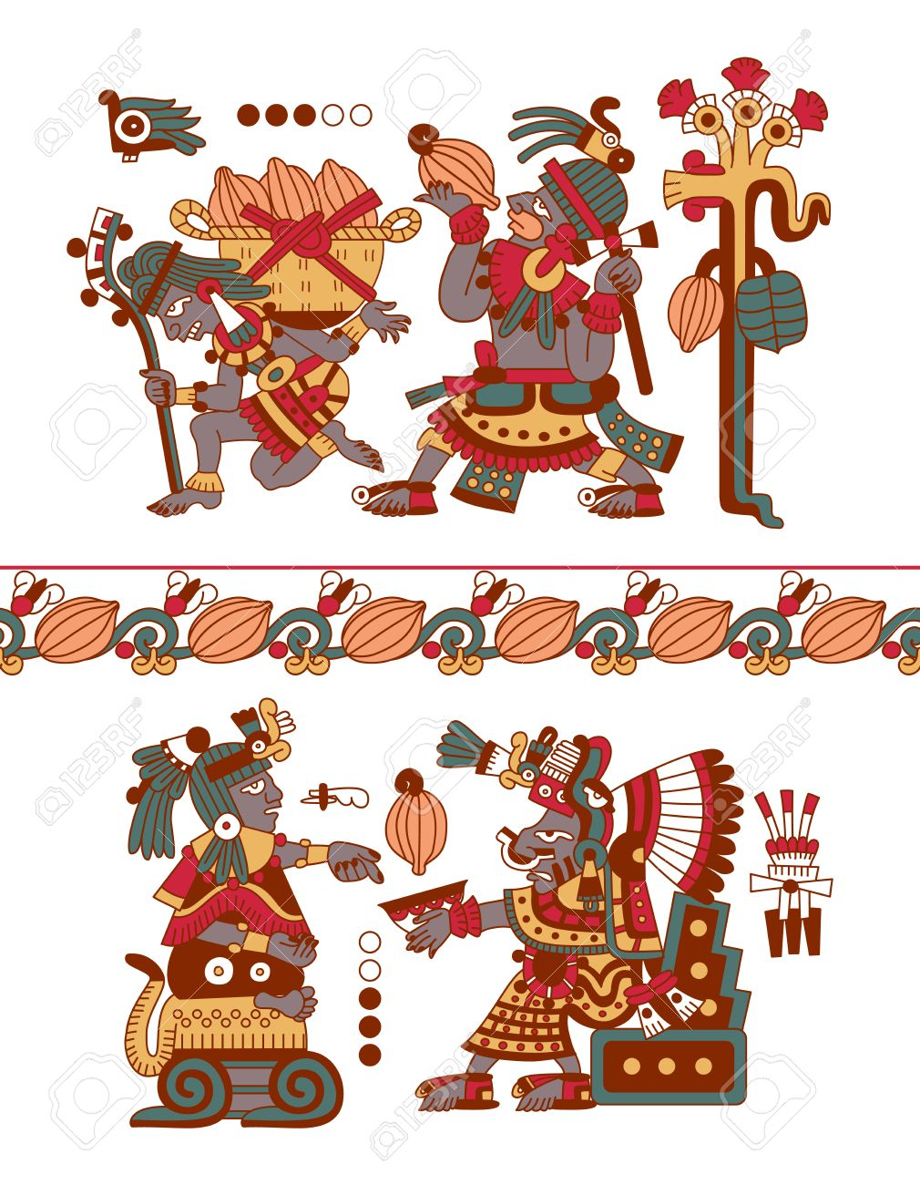 Vector Illustration Sketch Drawing Aztec Pattern Cacao Tree Royalty Free Cliparts Vectors And Stock Illustration Image 62776230