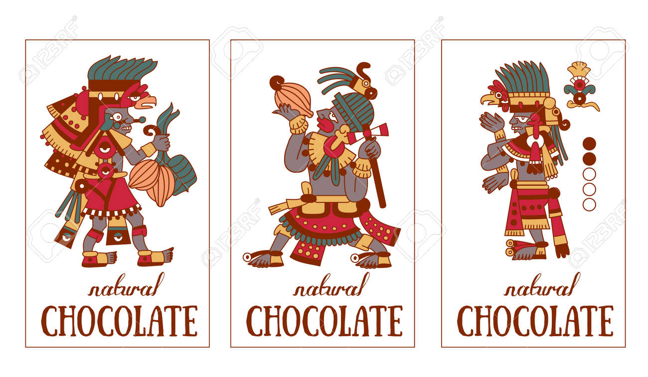 vector illustration sketch drawing contour pattern maya, aztec and cacao nibs, chocolate label logotype on brown, red, green, grey, yellow colors in white background - 62776236