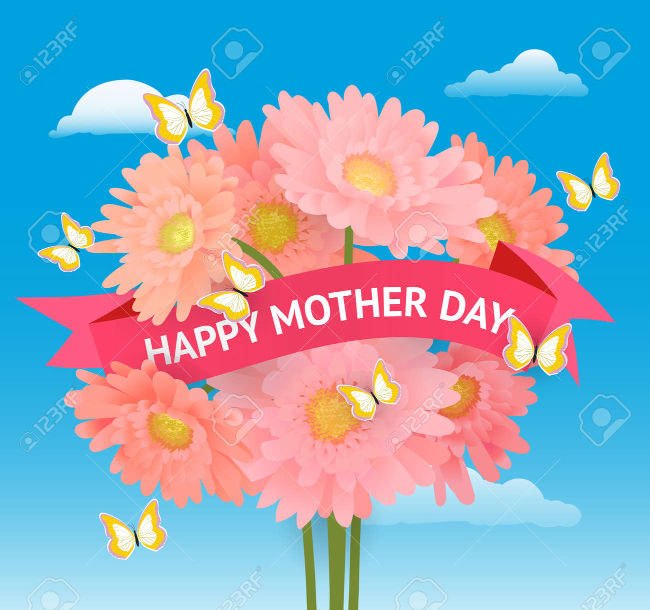 Vector illustration greeting card to mother day with stylized vector vector illustration greeting card to mother day with stylized flowers and ribbon with text m4hsunfo