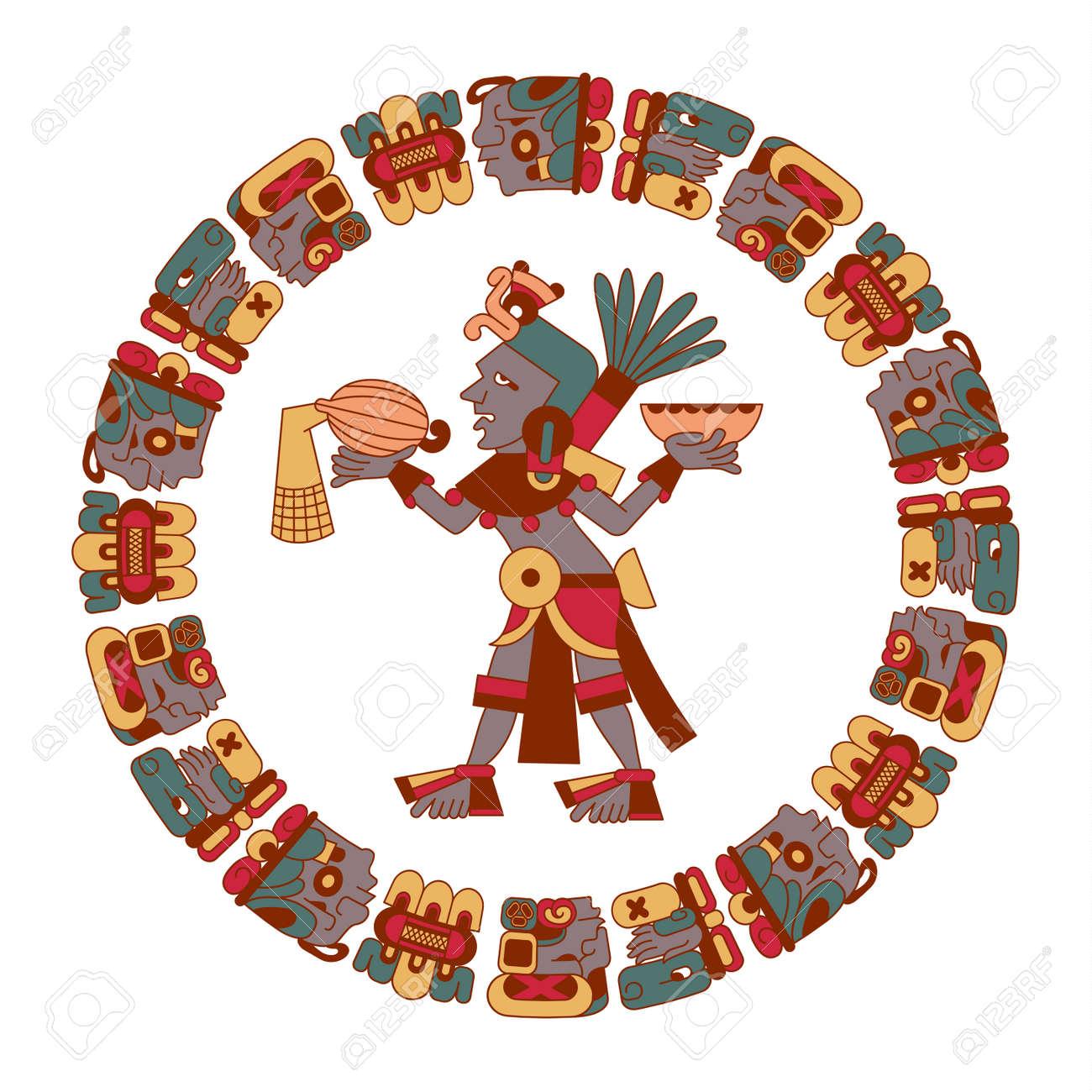 Ilustración Vectorial Estilo De Dibujos Animados Azteca Maya Color