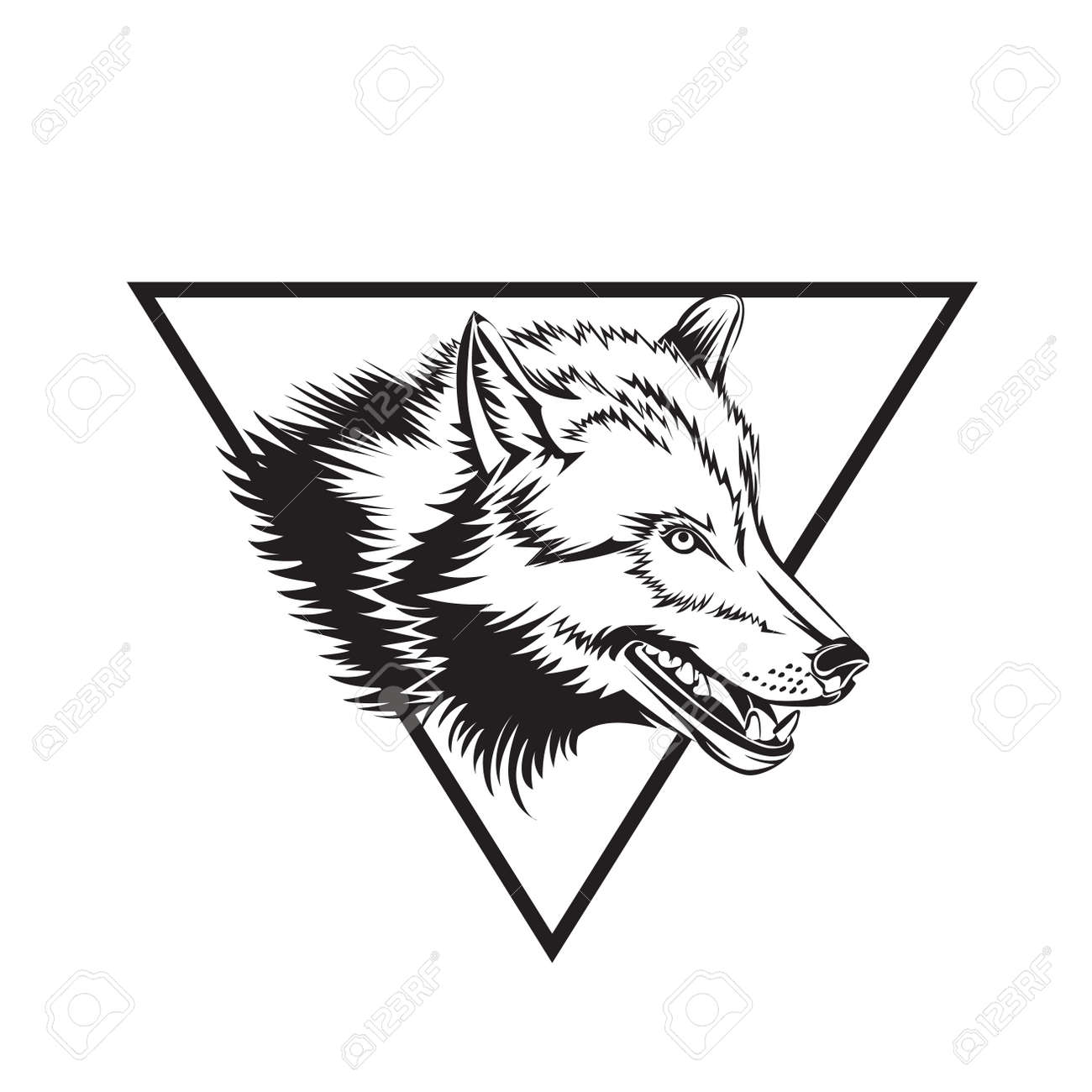 cd3e3bc7ca2fc Tattoo design sketch with wolf head. Vector illustration. Stock Vector -  101056277
