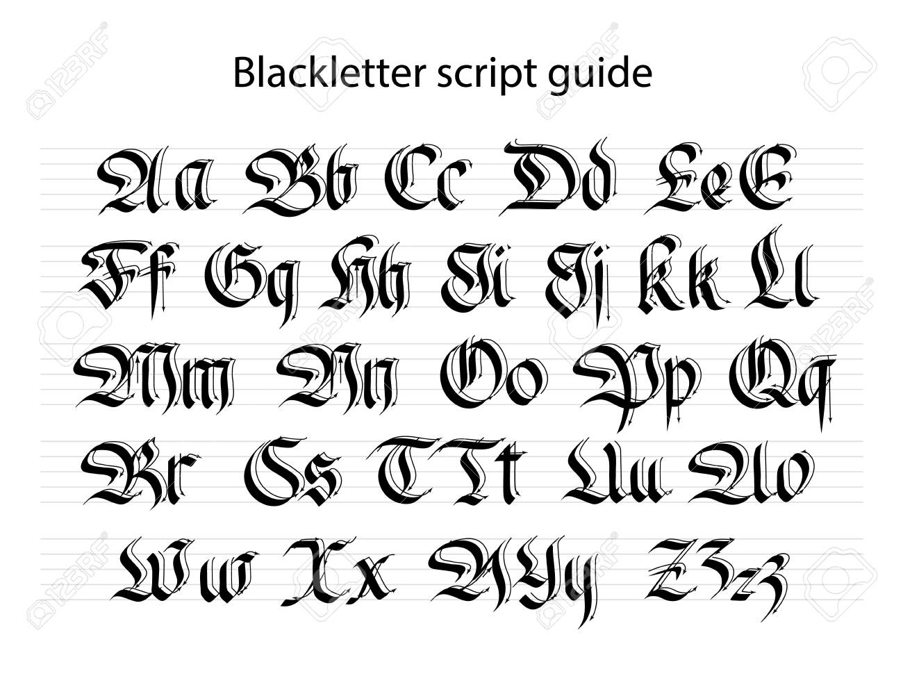 Calligraphy Practice Guide For A Black Letter Script Vector
