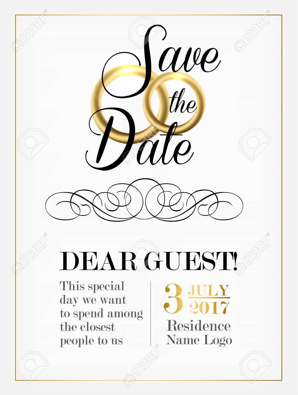 Wedding Invitation Design With Golden Rings And Cursive Text
