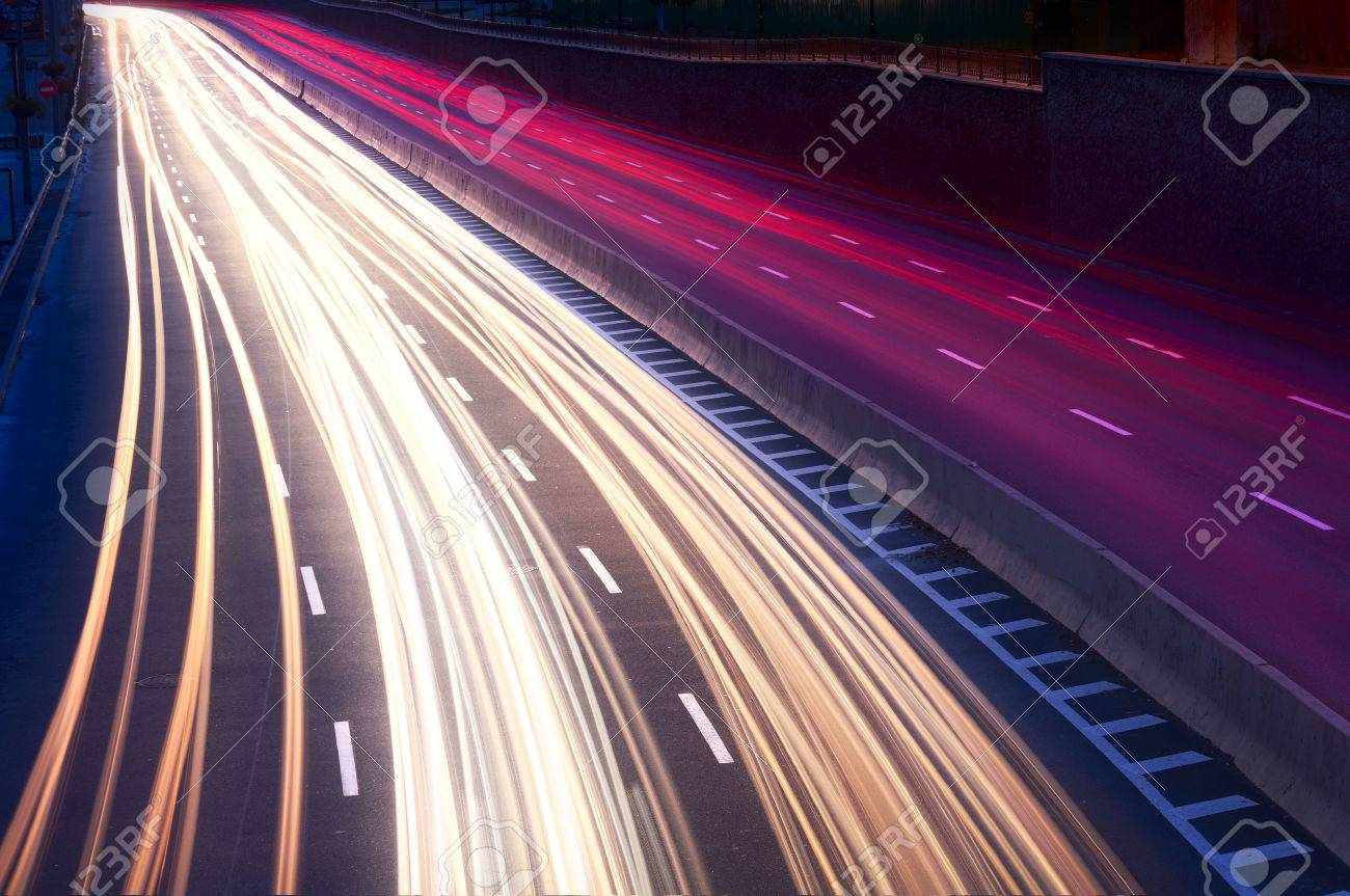 Car Light Trails On The City Street At Night Long Exposure Photo Stock Photo Picture And Royalty Free Image Image 48709977