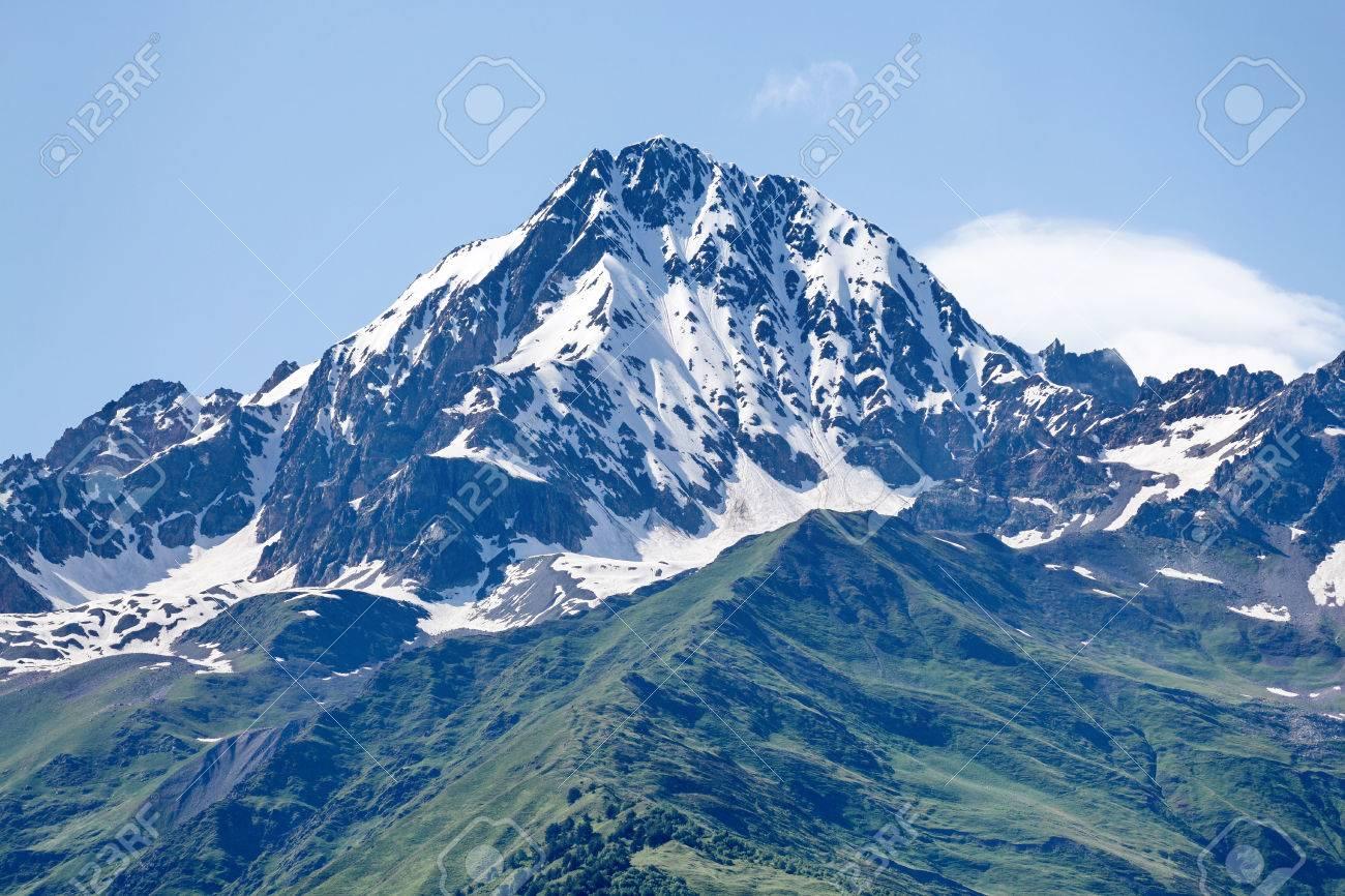 Mountain Peak In Snow And Green Hills Below Svaneti Georgia Stock P O 52039684