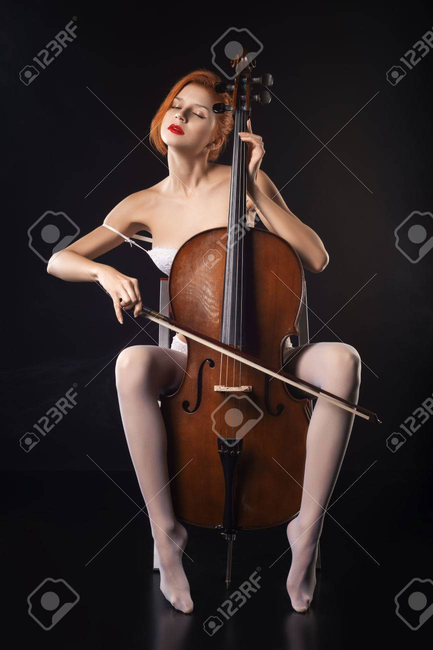 Adult Western Naked Lady Cello Player