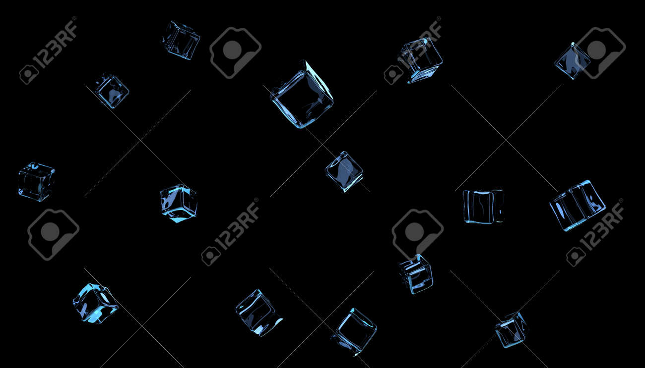Transparent ice cubes or glass on a black background - 151993727