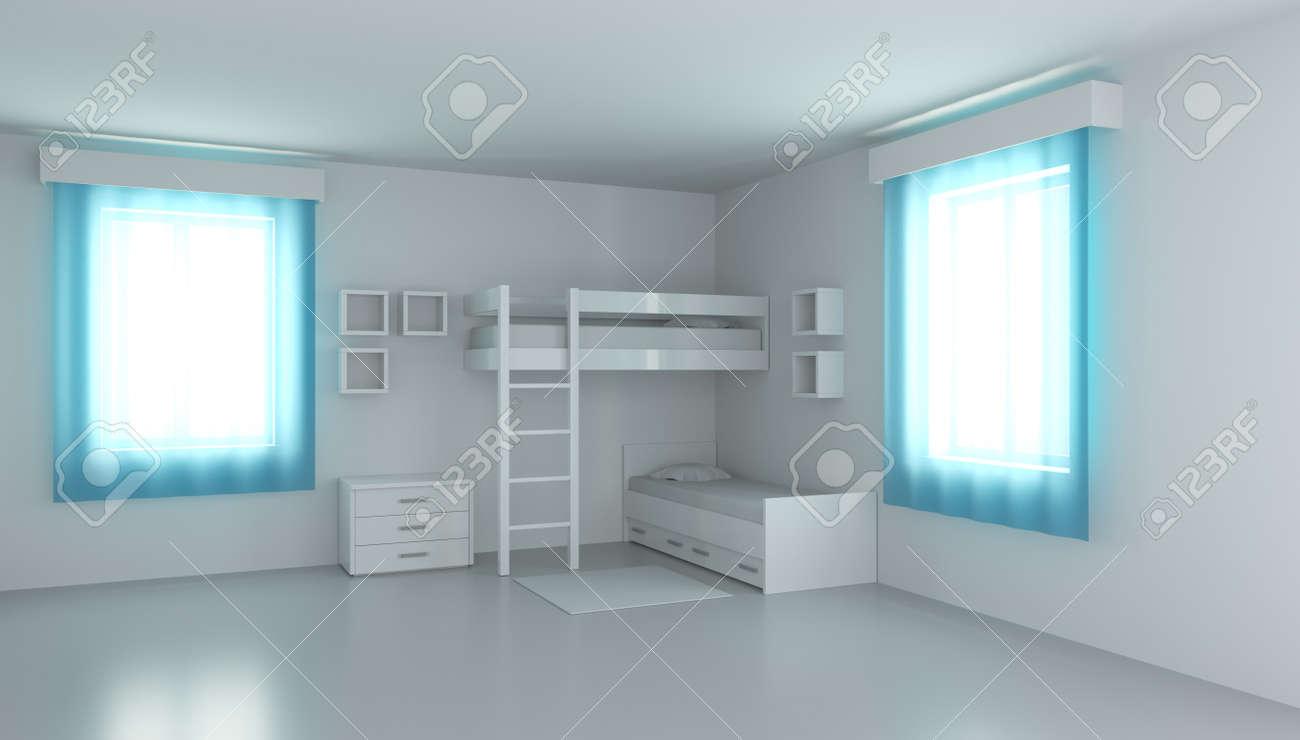 3D rendering children's bedroom for two children. Compact bedding in the interior. - 148156953