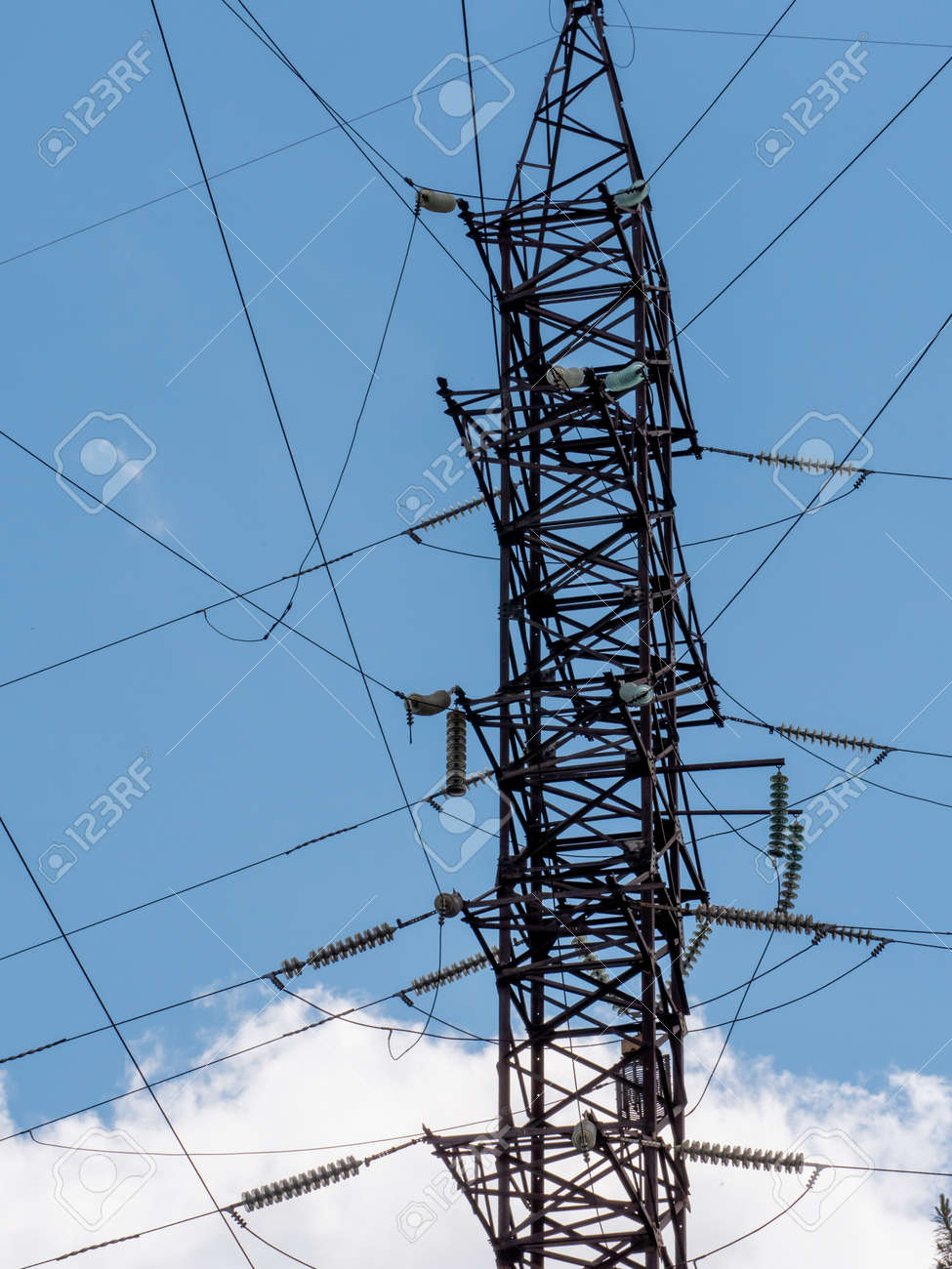 High voltage tower with wires - 149743460