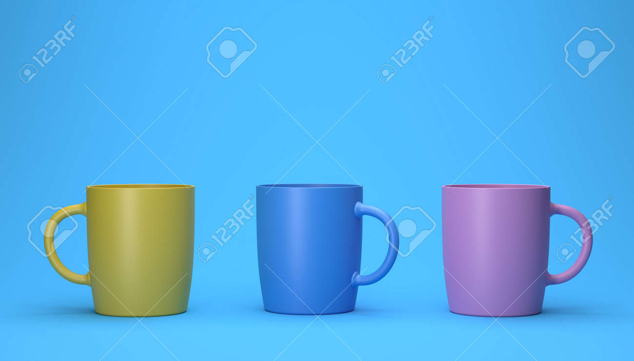 3d render of different color cups on a blue background. - 148614018