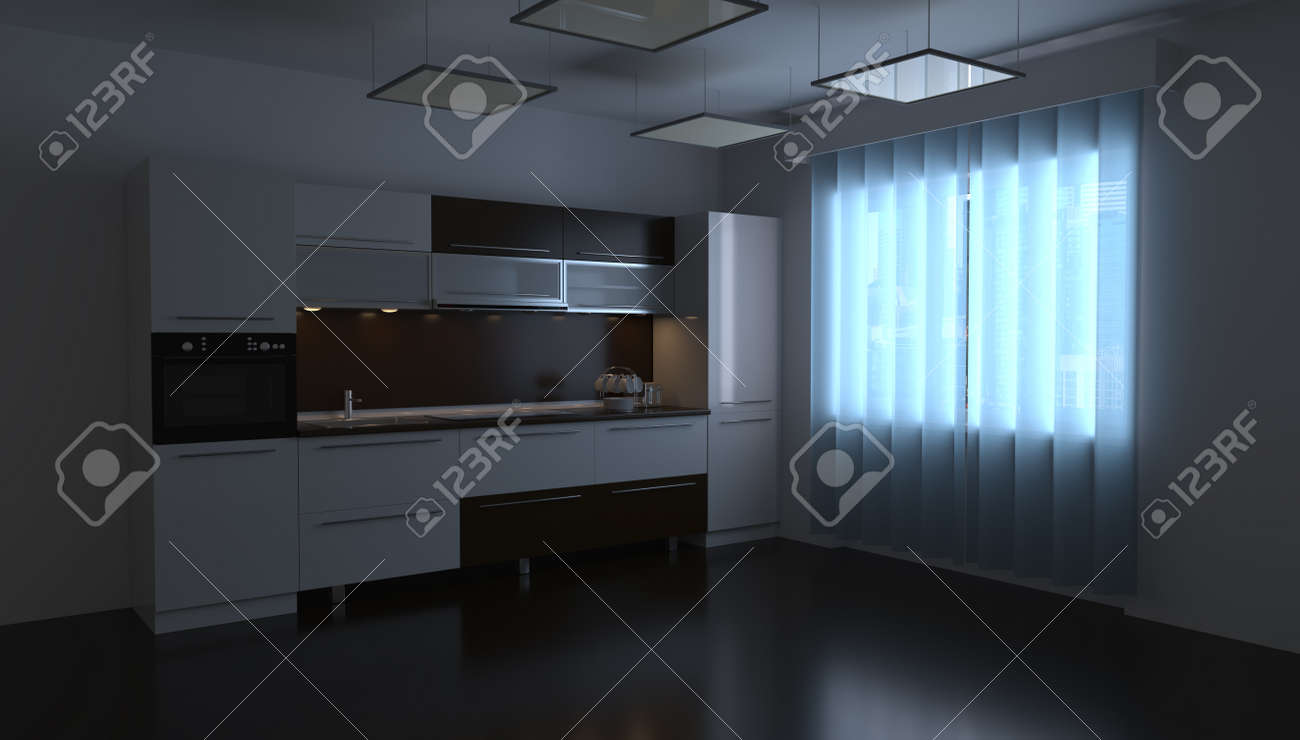 3d rendering design of a kitchen room in a home interior - 148828834