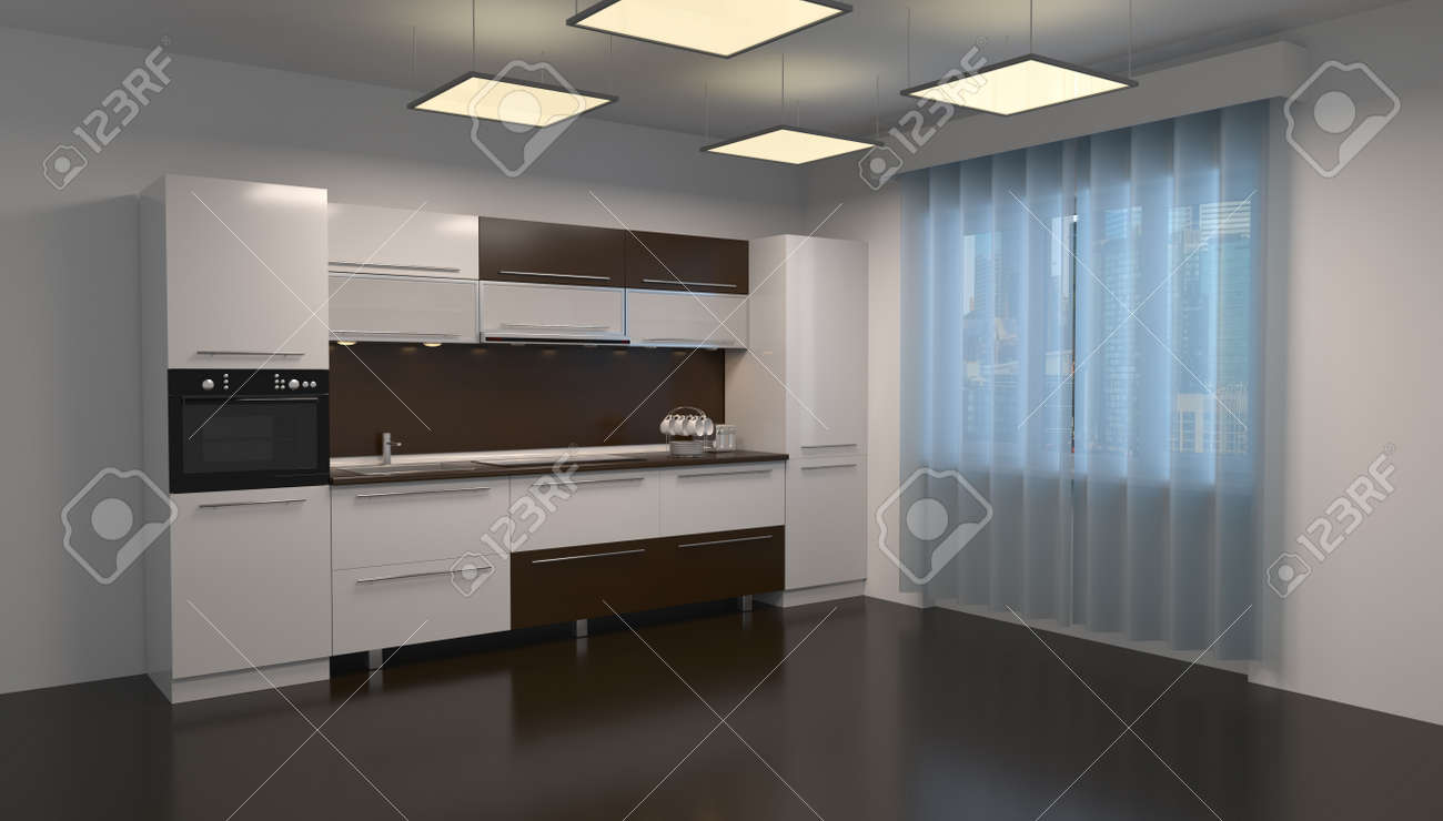 3d rendering design of a kitchen room in a home interior - 148823005