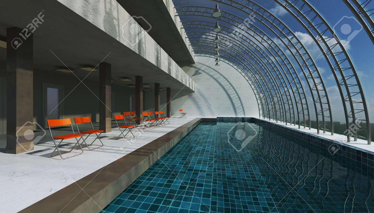 3D rendering interior swimming pool. Modern design hall hi-tech concept. - 149139101