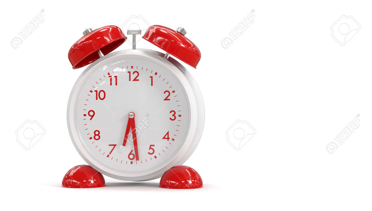 3D rendering alarm clock on a white background. Time to wake up. - 149043824