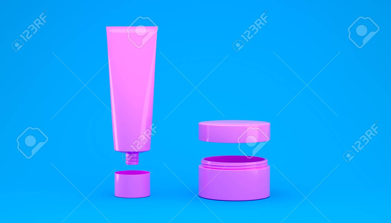 3d render cosmetic set of creams and skin care products for makeup and cleansing of human skin. Healthy lifestyle skin care - 149493469