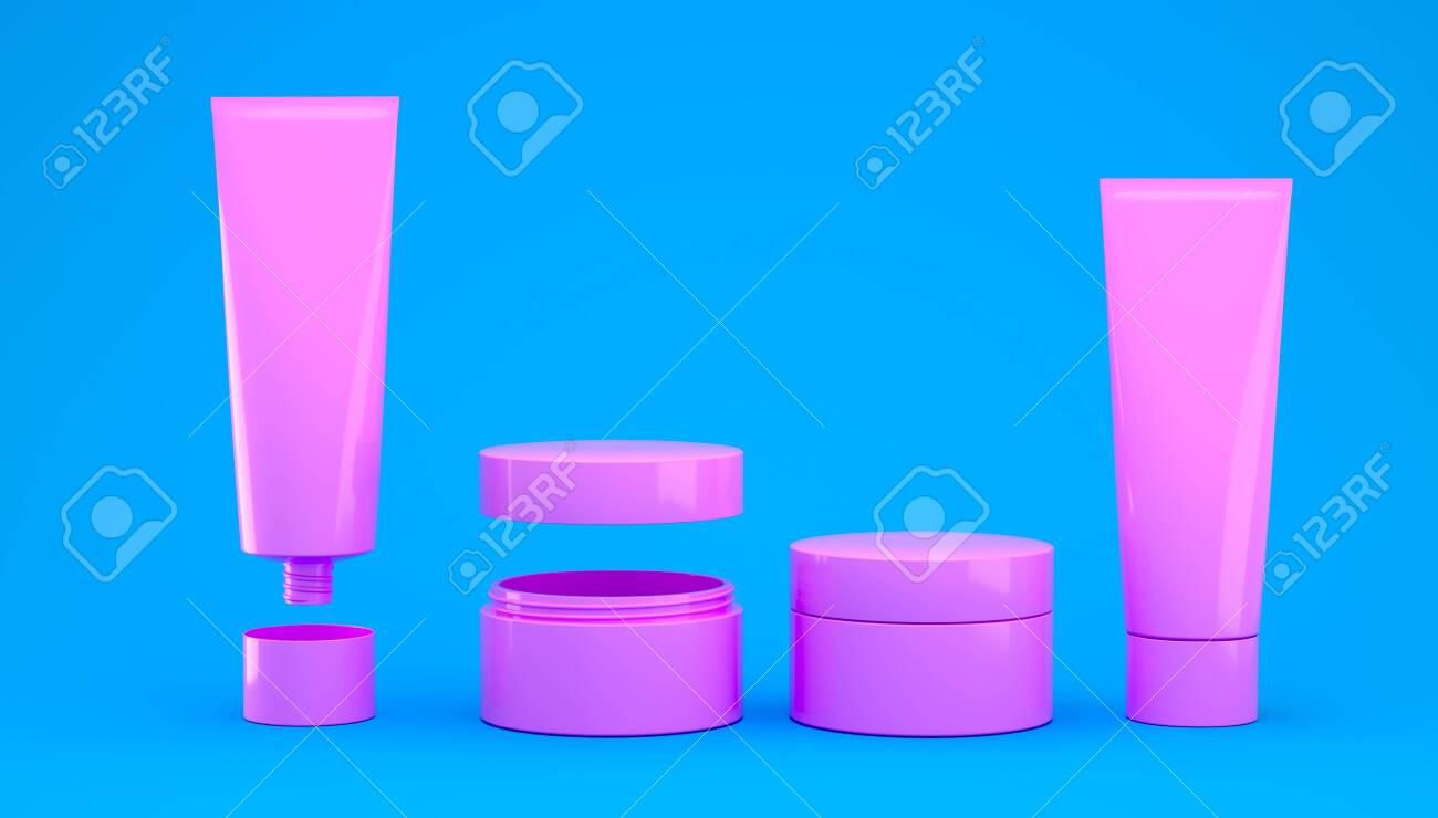 3d render cosmetic set of creams and skin care products for makeup and cleansing of human skin. Healthy lifestyle skin care - 149493455