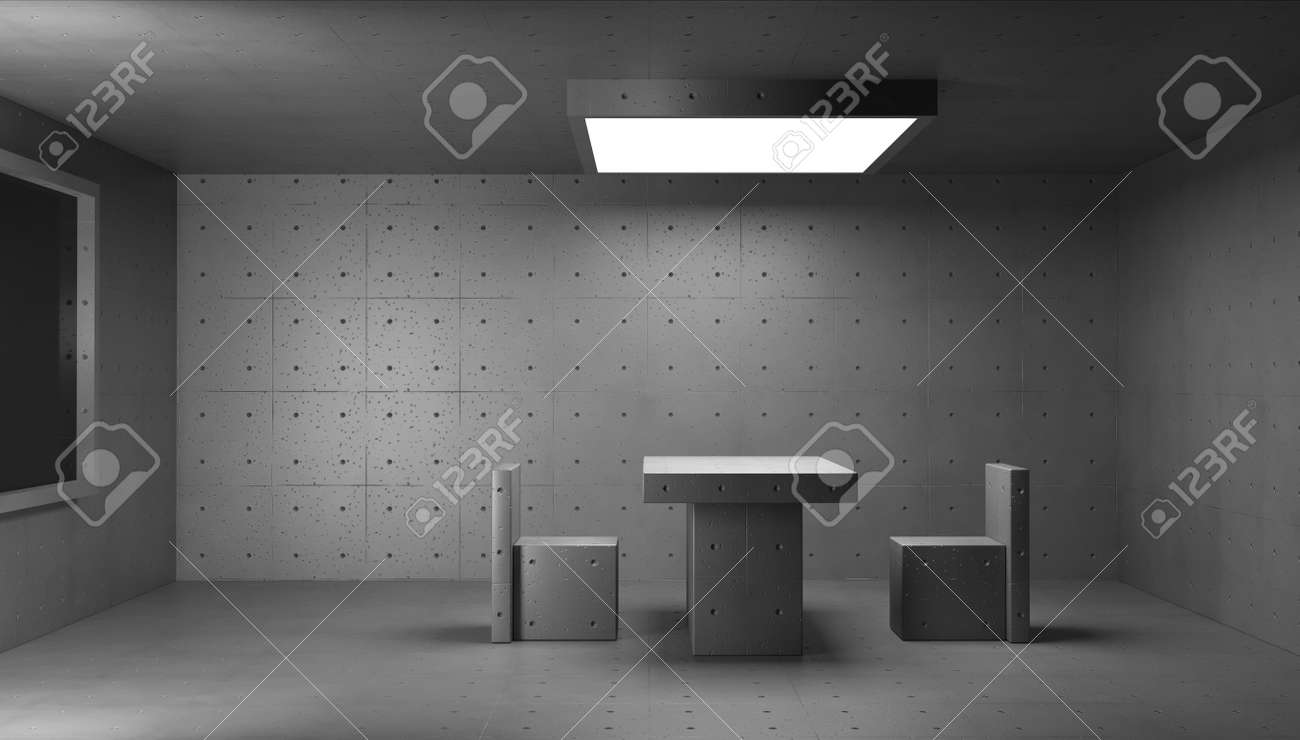 3d render concrete structure interior. Police interrogation room. - 151993732