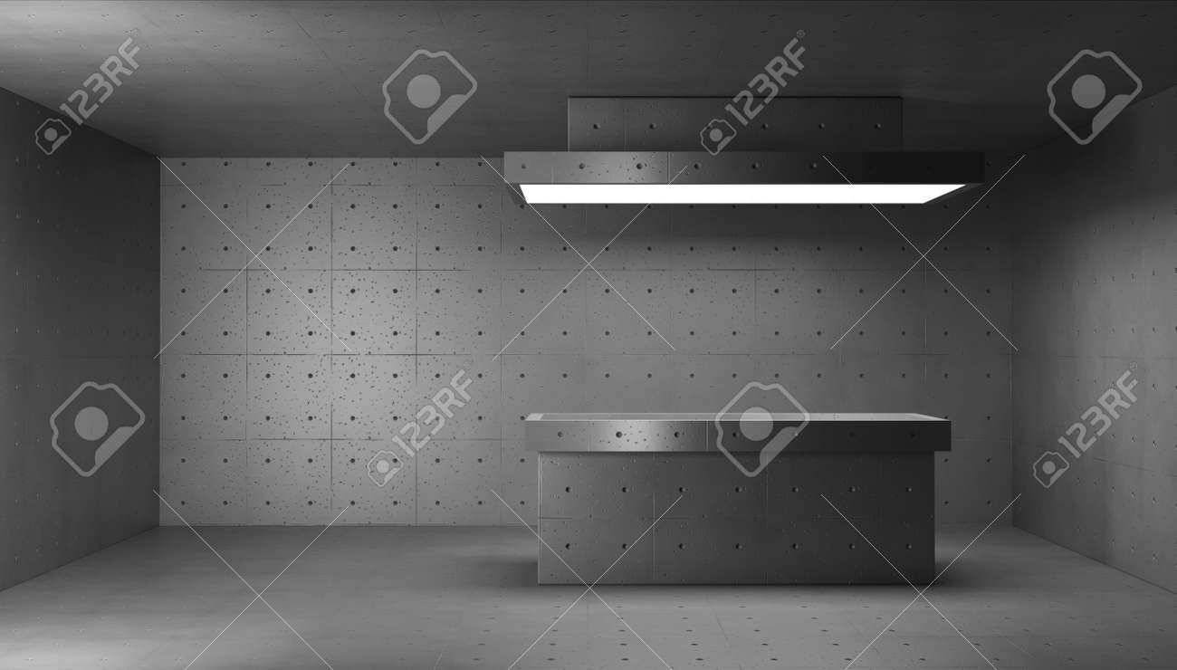 3d render concrete structure interior. Morgue room with cutting table - 151993733
