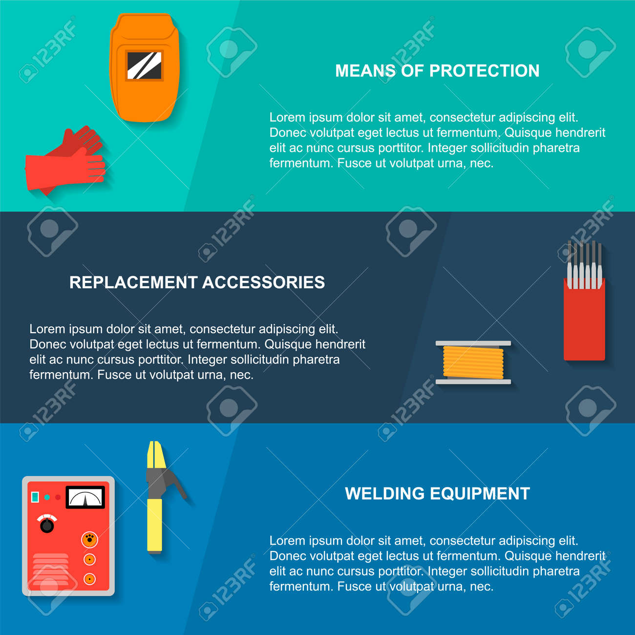 67647936 Welding design concept flat style Banners with welding tools and equipment illustration Stock Vector banner design wiring diagrams wiring diagrams banner photo eye wiring diagram at gsmx.co