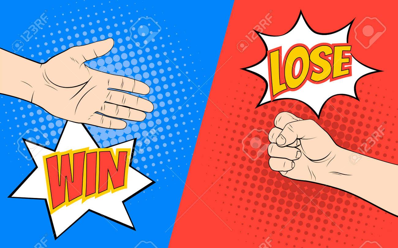 Rock paper scissors hand game. Pop art style vector - 72172696
