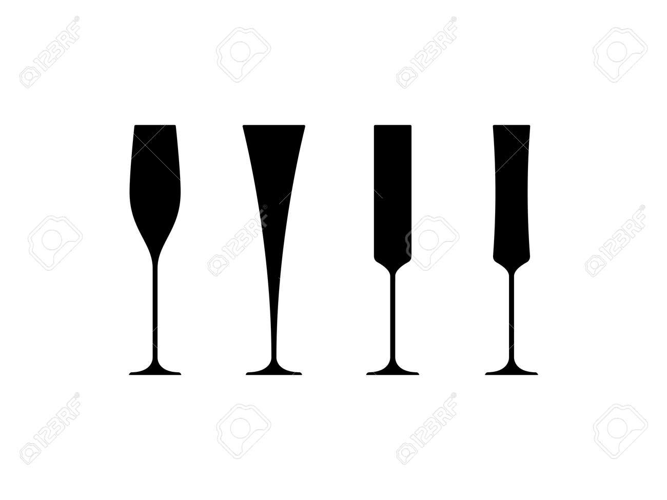 d2754303d9b Champagne Glasses Black Silhouette. Royalty Free Cliparts, Vectors ...