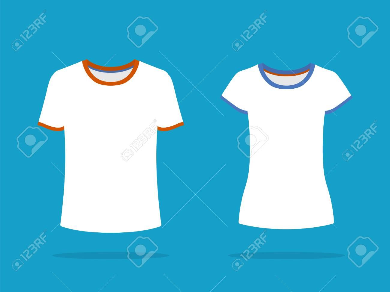 Men And Female Short Sleeve T Shirt Templates White T Shirts