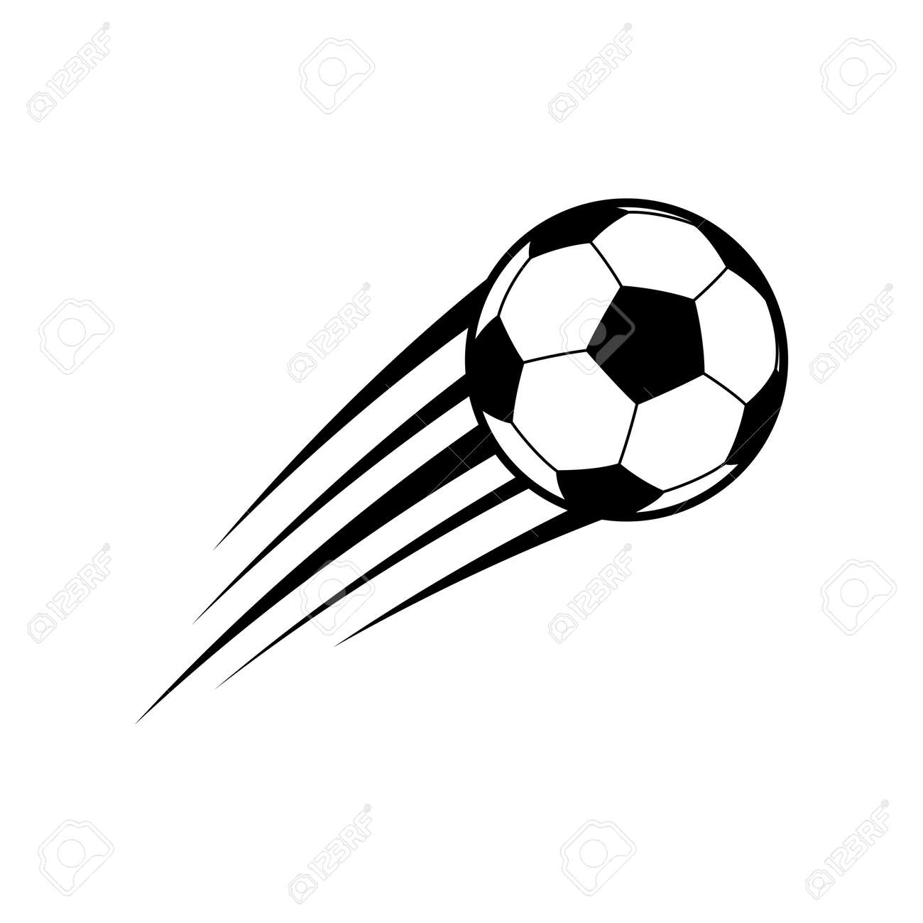 Flying soccer ball. Vector - 99331972