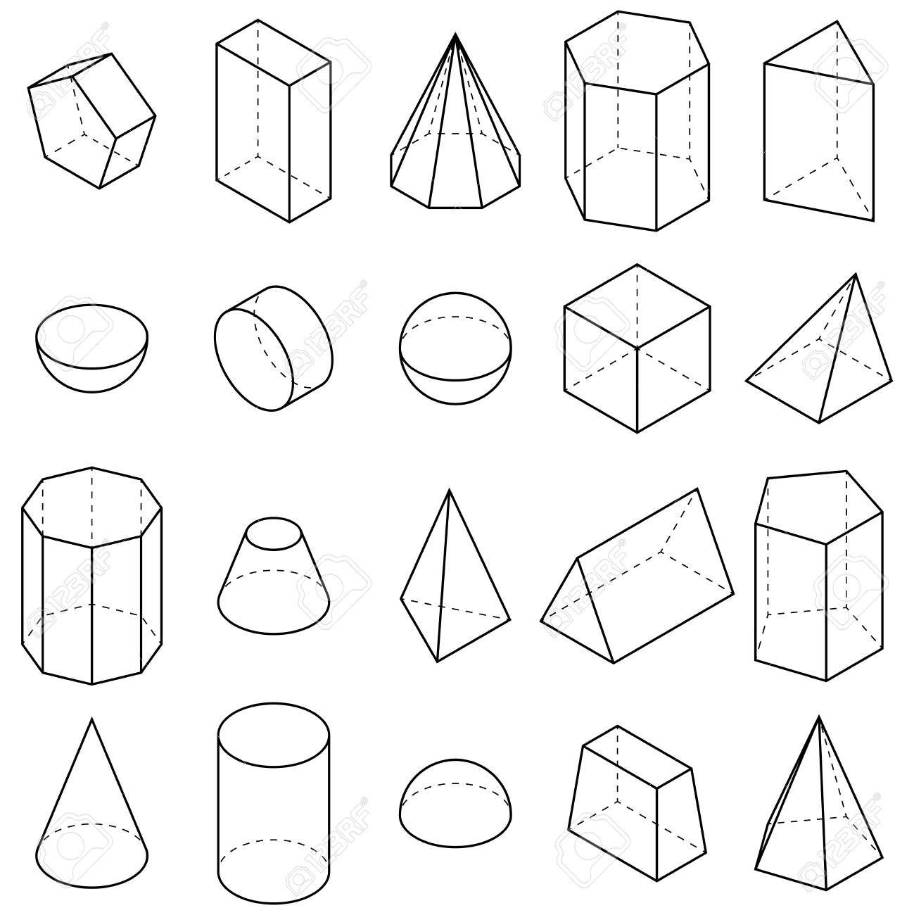 Set of geometric shapes. Isometric views. Vector illustration - 124857451