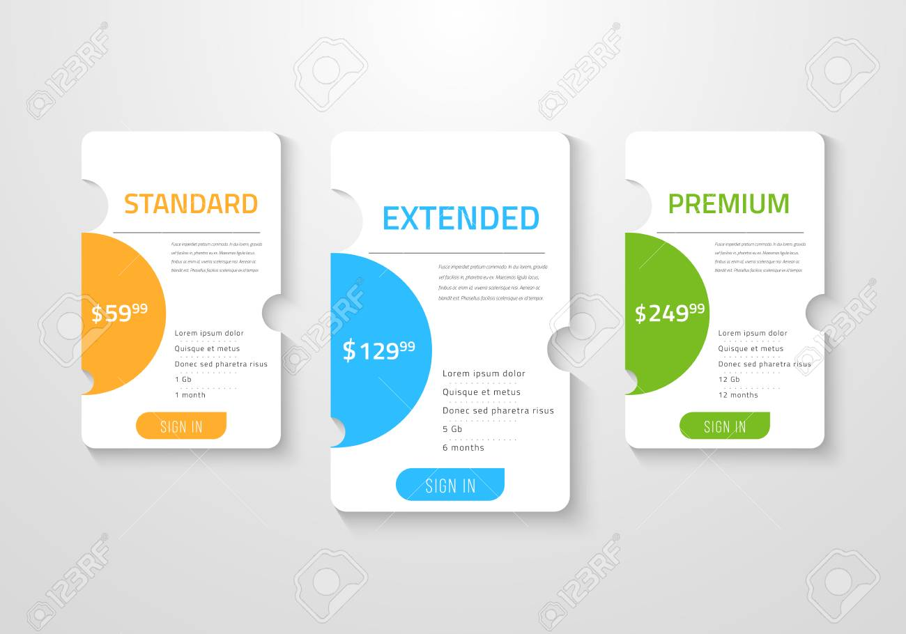 Web pricing table design for business Vector illustration. - 97728736
