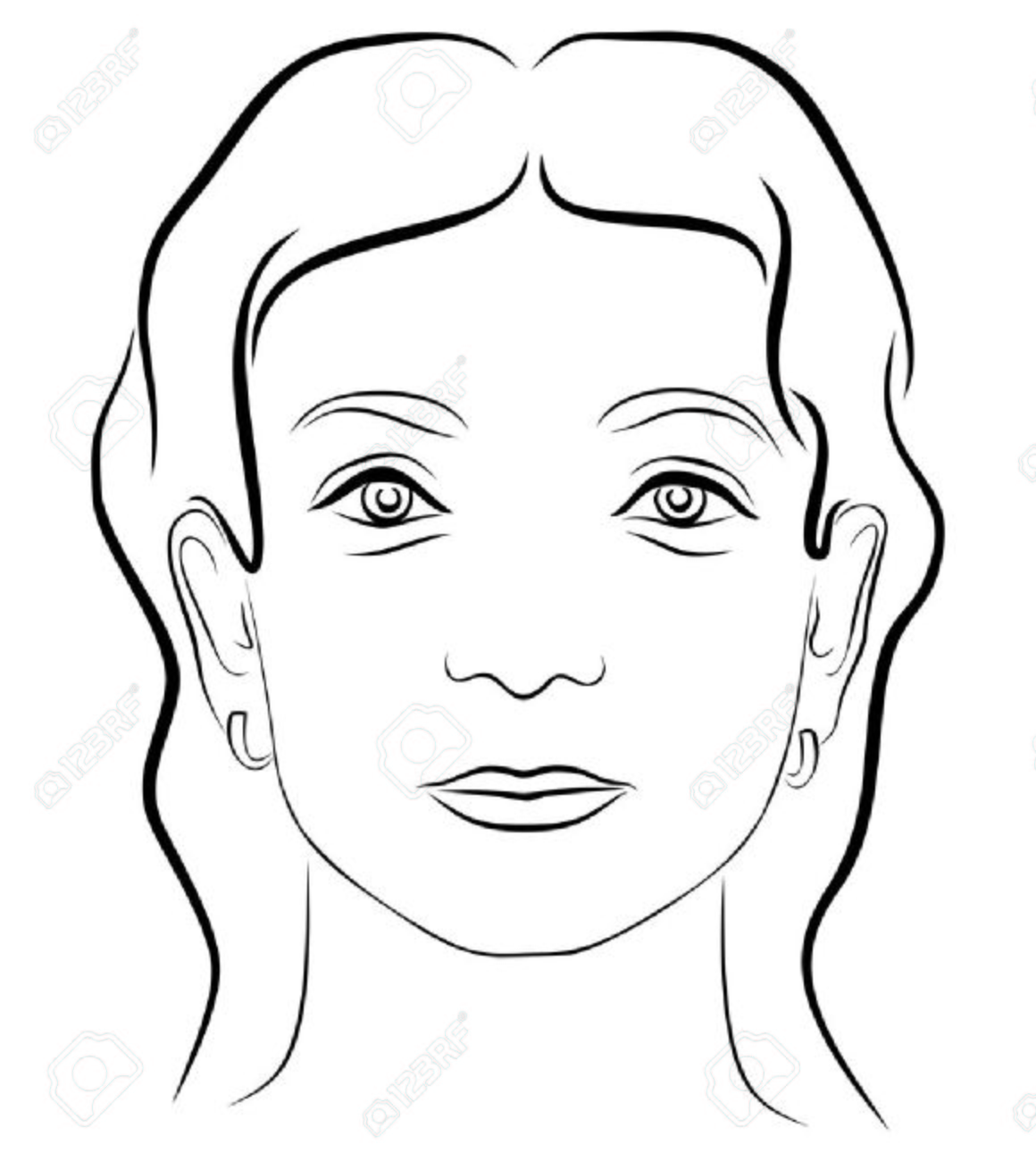 Black and white drawing young woman's face 3 - 7881037