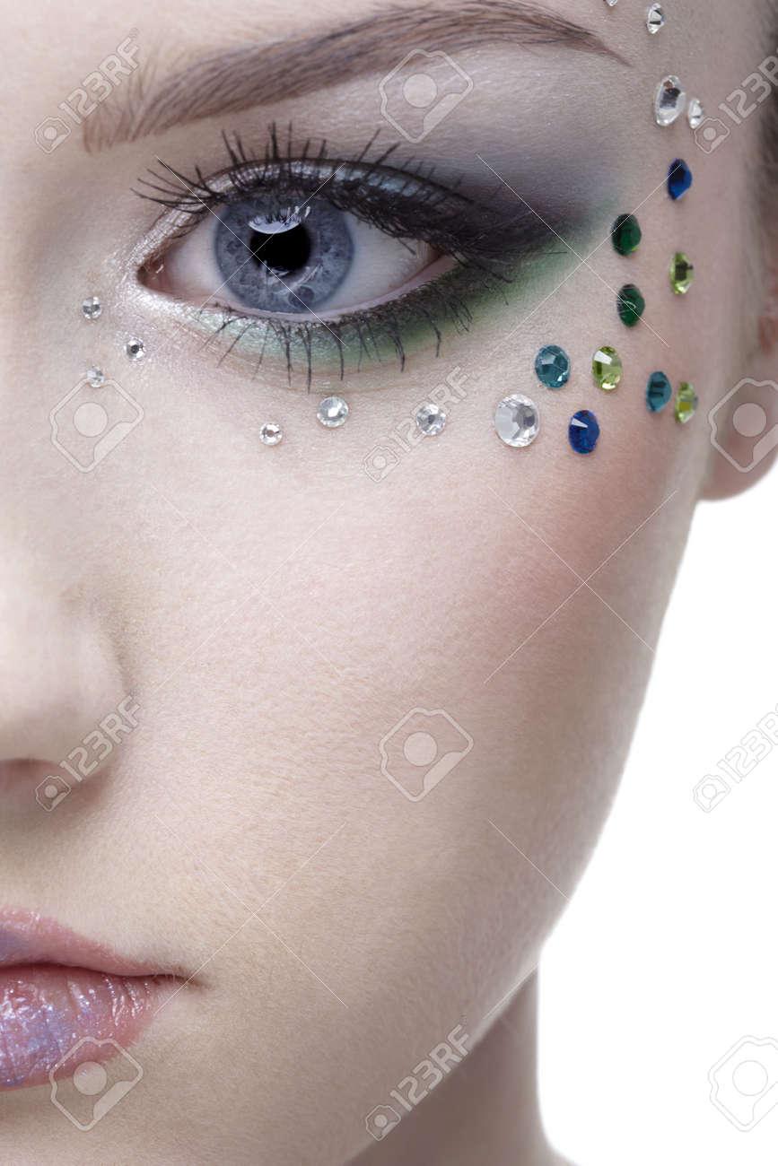 portrait of beautiful girl' half-face with mermaid bodyart Stock Photo - 4642504