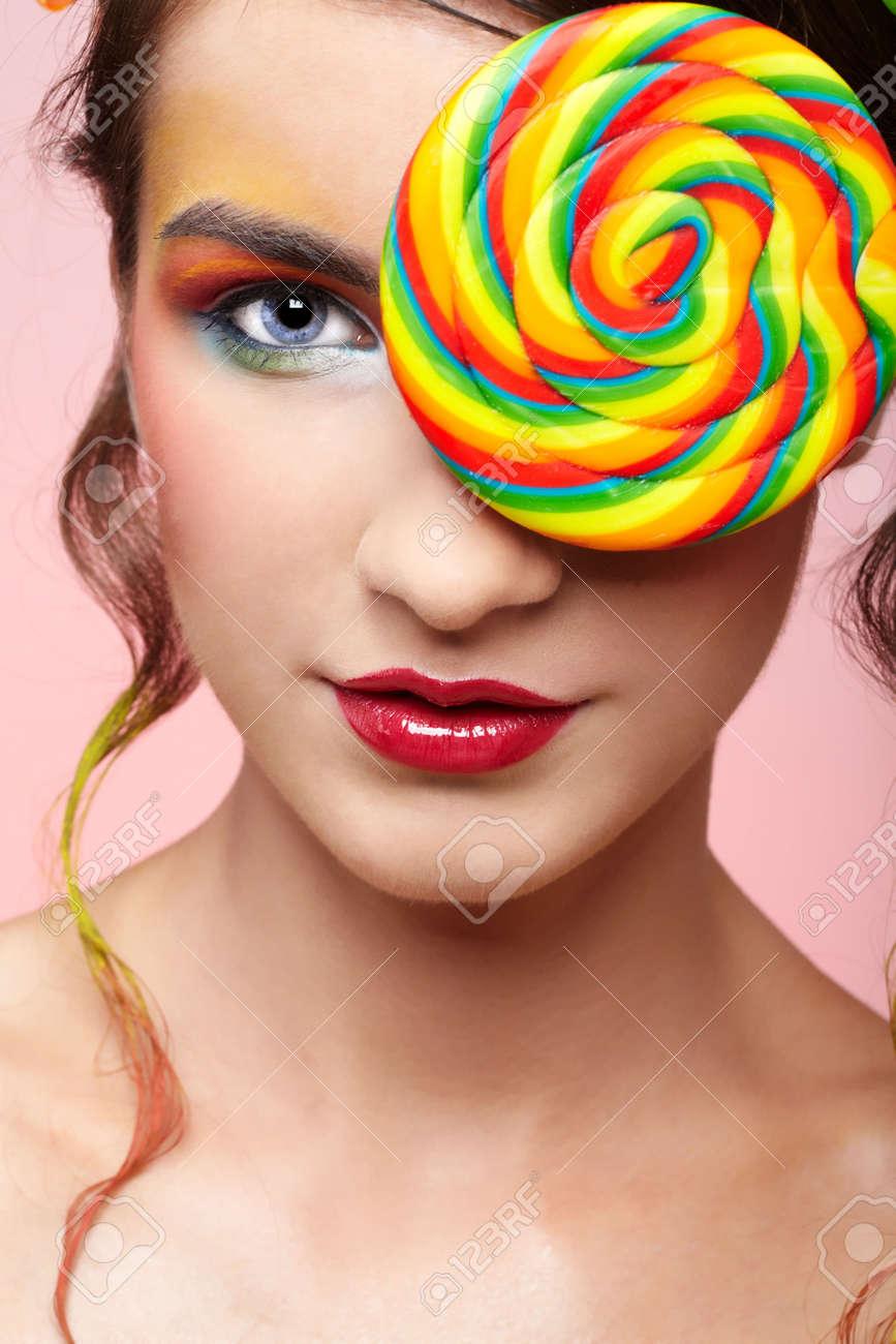portrait of beautiful girl with big lollipop Stock Photo - 5714704