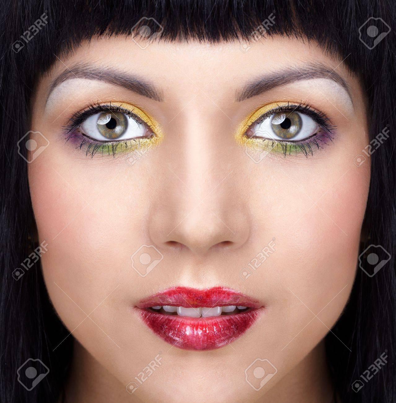half face portrait of beautiful brunette girl Stock Photo - 5724332