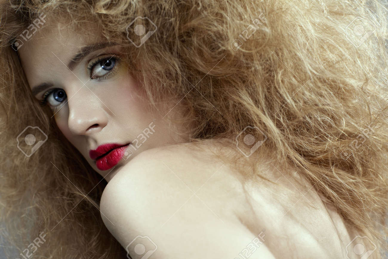 portrait of caucasian girl with girl with shock hair-do Stock Photo - 6090623