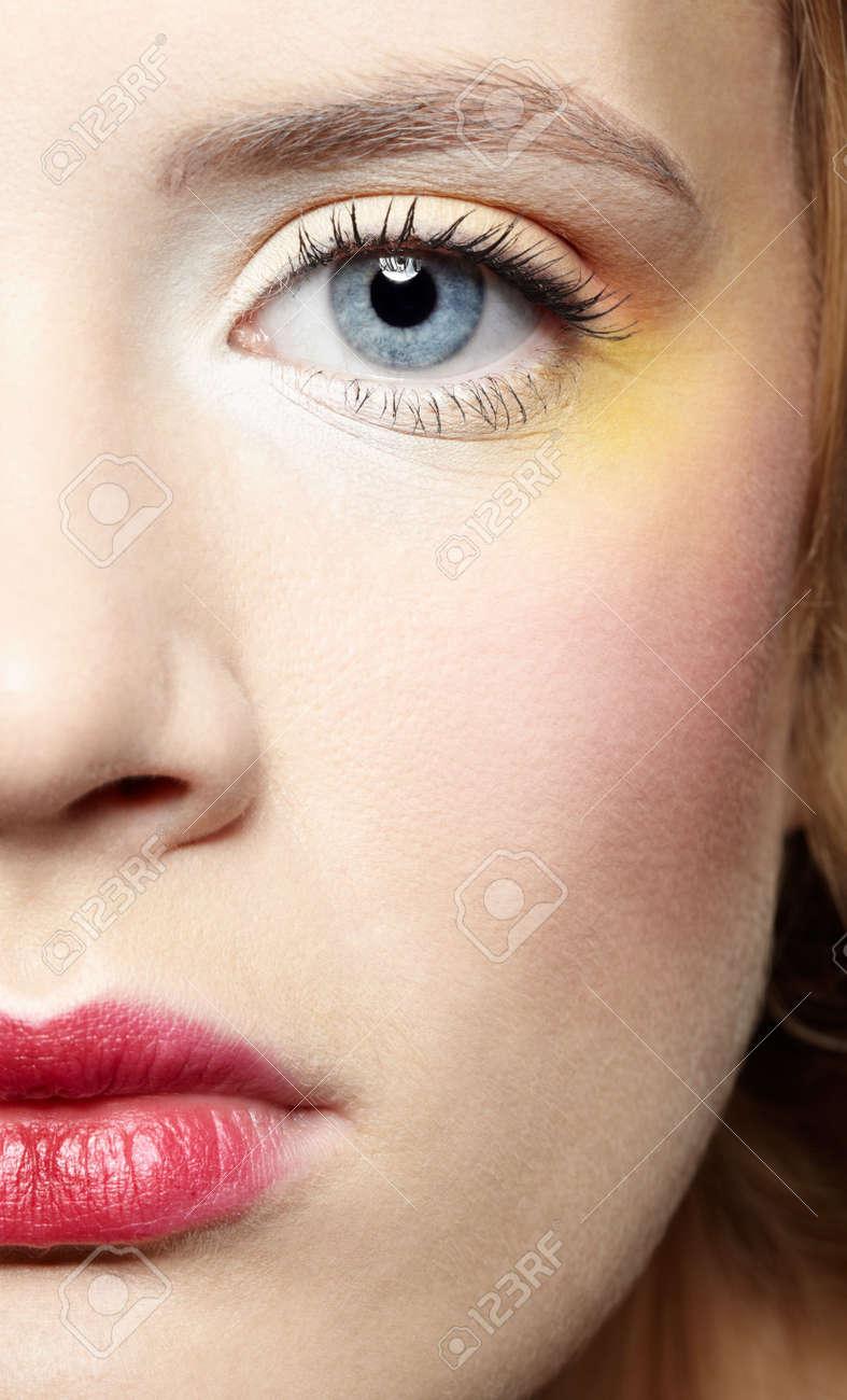 close-up half-face portrait of beautiful caucasian girl Stock Photo - 6090602