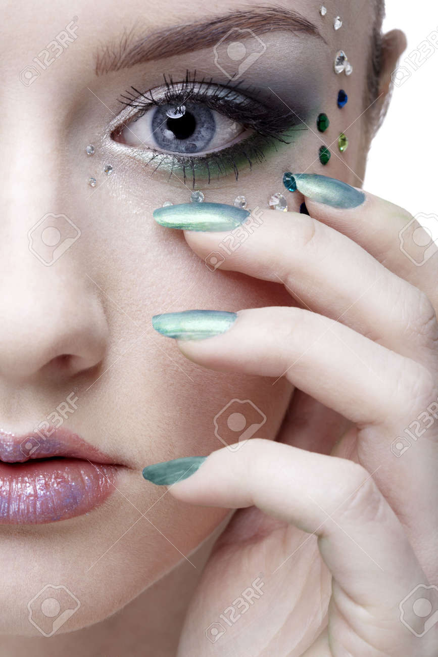 portrait of beautiful girl' half-face with mermaid bodyart Stock Photo - 8038209