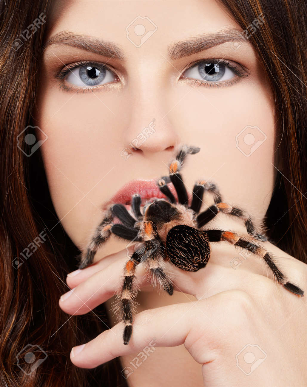 close-up brachypelma smithi spider sitting on girl's hand and stretching out to her mouth Stock Photo - 8306767