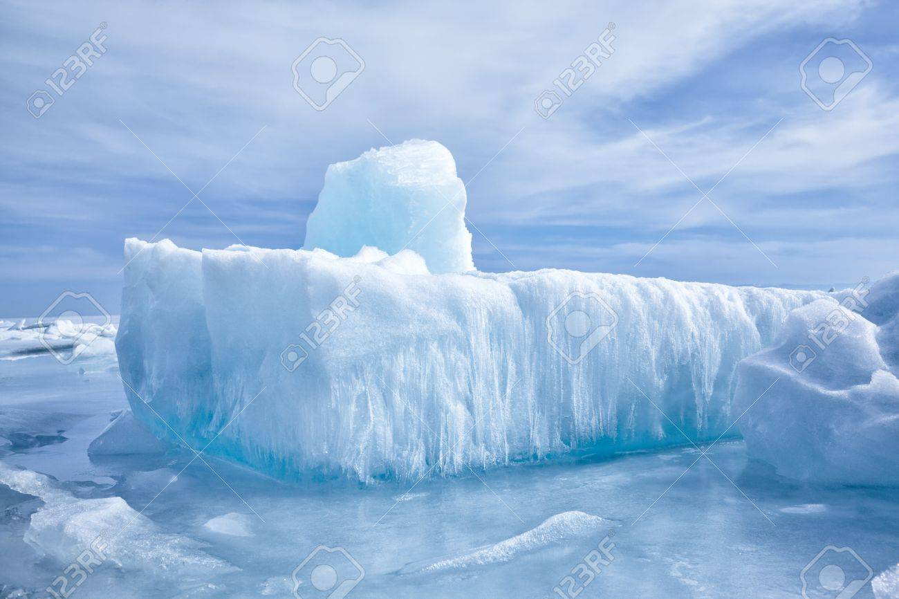outdoor view of ice blocks at frozen baikal lake in winter Stock Photo - 15189842