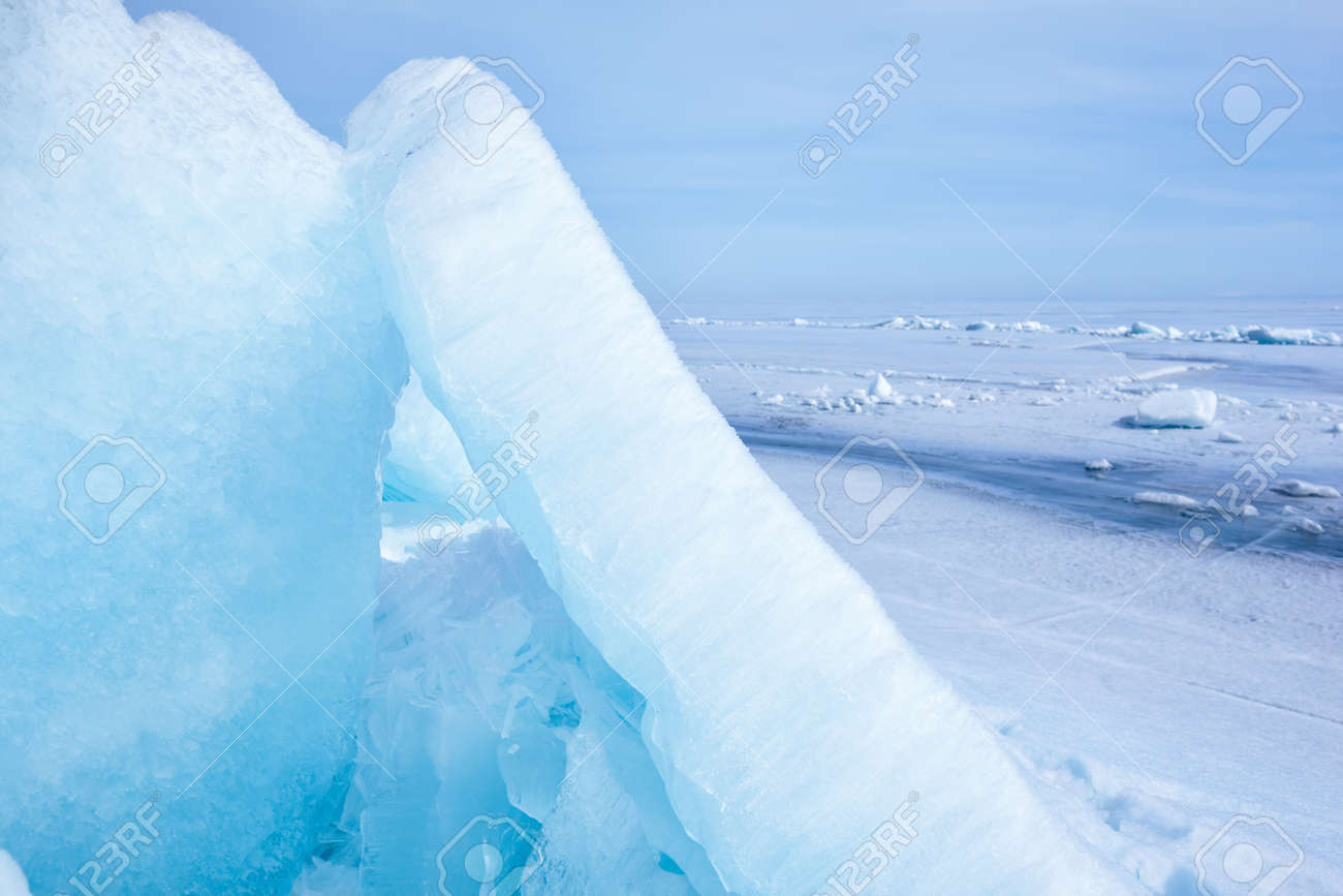 outdoor view of ice blocks at frozen baikal lake in winter Stock Photo - 15189758